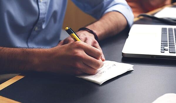 writing down ideas